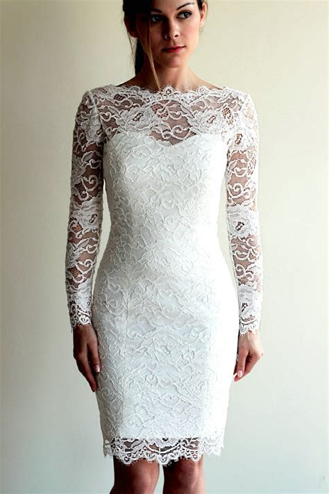 Knee Length Sheath Long Sleeves Lace Wedding Dress