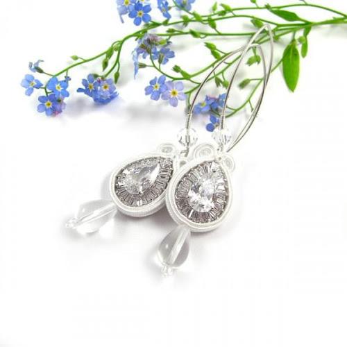Długie kolczyki ślubne sutasz z kryształami Novia Blanca