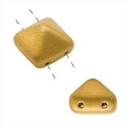 Czech Glass 2-Hole Pyramid Bead Studs 12mm - Matte Gold (2 Pieces)