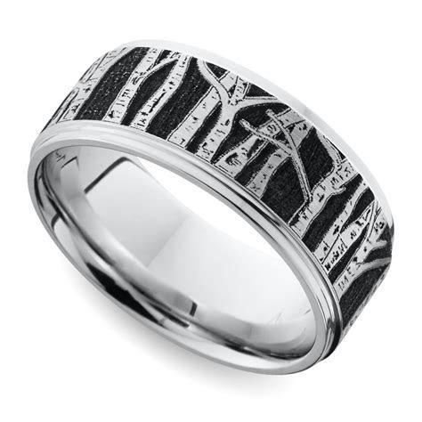 Laser Carved Aspen Design Men's Wedding Ring in Cobalt