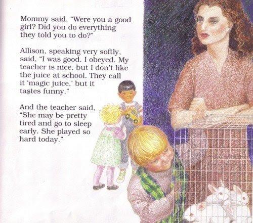 """Esta vinheta se refere a um """"suco mágico"""" dado pelo professor que implica que as crianças estão sendo drogado na creche.  A imagem descreve coelhos brancos em uma gaiola que representam as próprias crianças.  Além disso, esses coelhos pode ser usado para mostrar às crianças o que aconteceria se eles quebrar o """"círculo de confiança"""".  Em outras palavras, que eles provavelmente ferir os coelhos em frente das crianças."""