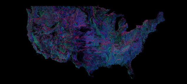 Every River in the U.S., Colored According to the Way It Flows