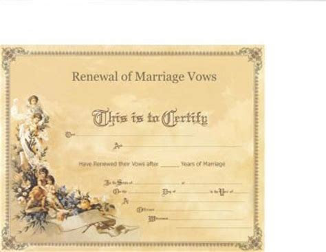 Marriage Vow Renewal Certificate   My Fake Wedding