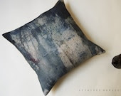 "Linen Squart Throw Pillowcase 18""x18"". Blue ..  Allusion blue woods /  FRAGMENTS - AffairesNomades"