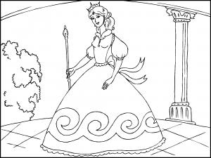 Colorear Princesa Con Un Bonito Vestido Dibujos De Princesas Para