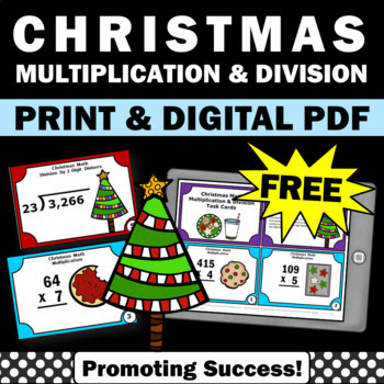 free Christmas math multiplication and division games activities and task cards