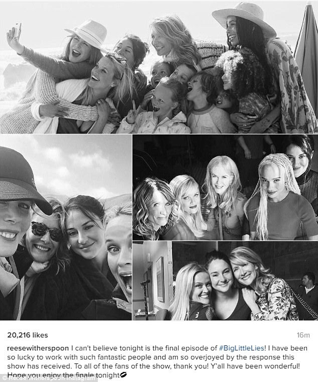 Fazendo lembranças: Antes do final do domingo, Reese compartilhou uma colagem de fotos com seus co-estrelas para seu Instagram