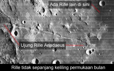 gambar patahan di permukaan bulan - tampak atas