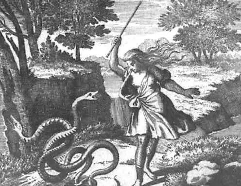 Teiresias whacking a snake