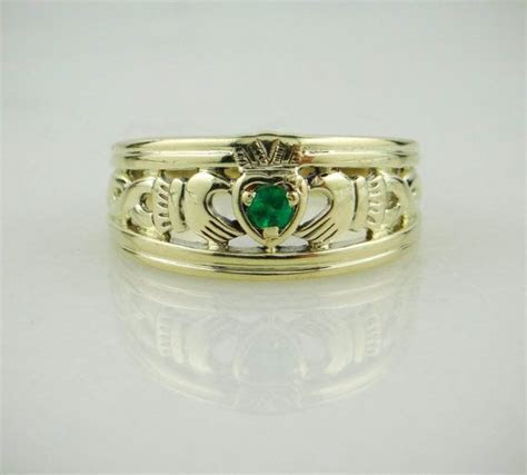 14K Green Gold Claddagh Ring, Vintage Irish Wedding with