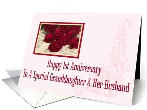 Granddaughter And Her Husband 1st Anniversary card (568978)