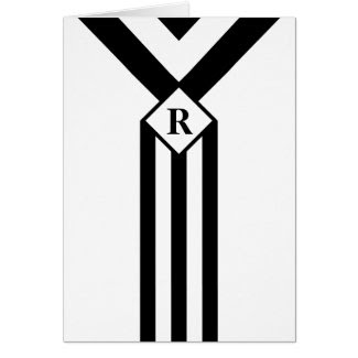 Black Stripes and Chevrons with Monogram on White Greeting Card