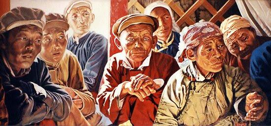 Oil Paintings: Mongolian Meeting by Chris Baker