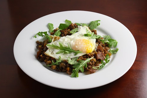 Umbrian Lentil Stew with Olive Oil Fried Eggs