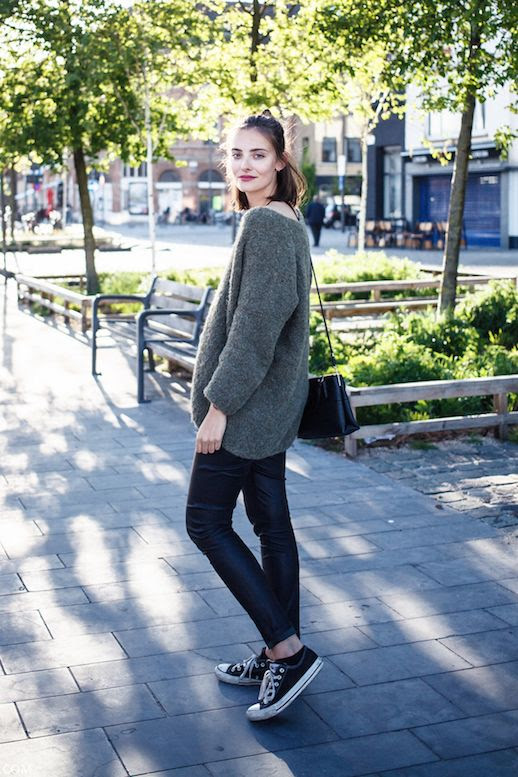 Le Fashion Blog Ways To Wear Black Converse Sneakers Green Mohair Sweater Leather Pants Leggings Blogger Style Polienne Via Creators Of Desire