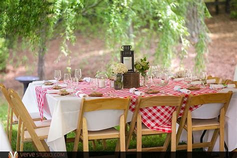 An outdoor Southern Picnic wedding with gingham
