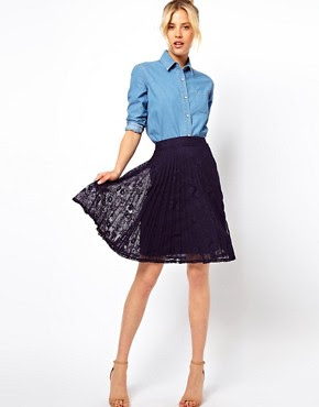 Image 1 of ASOS Midi Skirt in Pleated Lace