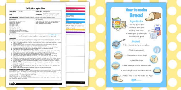 Making Bread EYFS Adult Input Plan and Resource Pack - cooking
