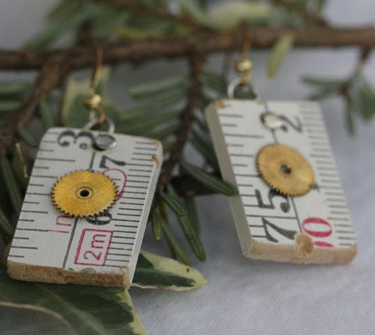 HOLIDAY SALE White Gears wood tape measure earrings
