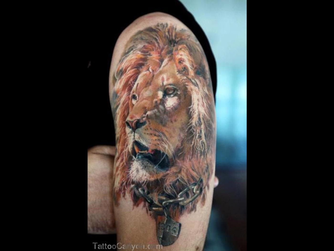 New Left Half Sleeve Lion Tattoo