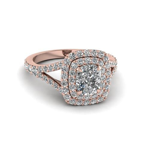 Cushion Cut Diamond Double Halo Engagement Ring In 14K