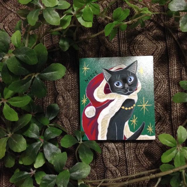 原画黒猫のクリスマスのイラスト絵絵画アート ハンドメイド