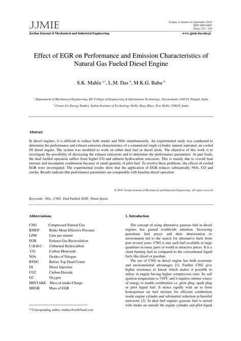 (PDF) Effect of EGR on Performance and Emission