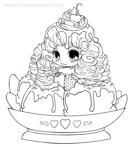 chibi ice cream girl coloring page  free printable