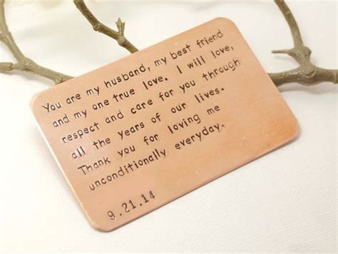 Copper Wallet Insert Card  Hand stamped & Personalized