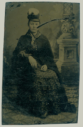 Tintype woman with hat