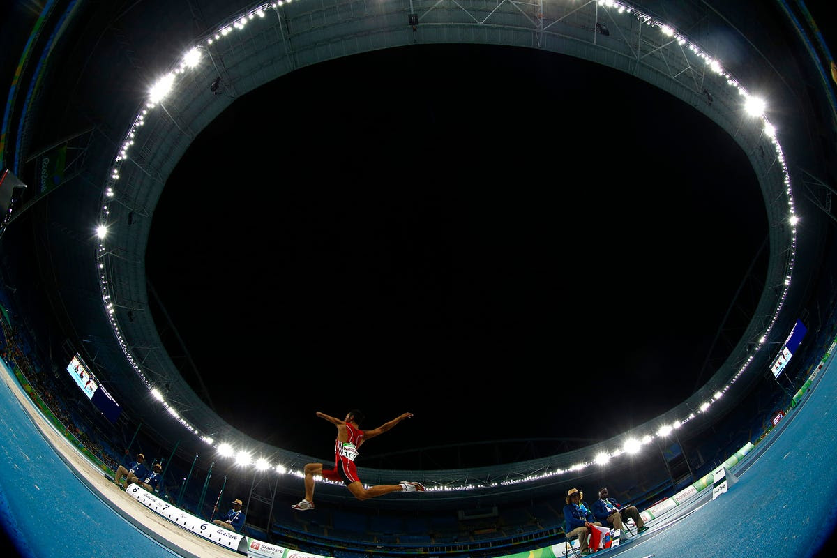 A fish-eye view of the men's long jump.