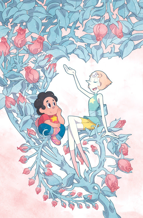 Another main cover for Steven Universe! I keep coming back to Mucha for inspiration. I loved the idea of Pearl remembering and talking about Rose at length without letting her sadness choke her, an...