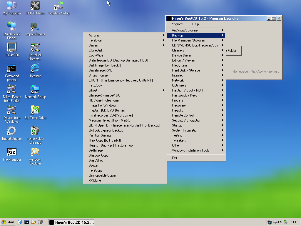 Details about Hiren's Boot DVD 15 2 Restored Edition 1 1 Computer Repair  for Windows XP Mini 7