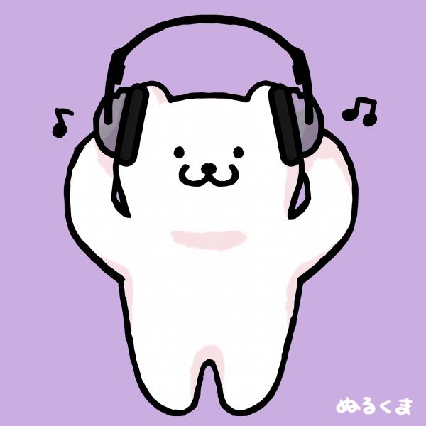ヘッドホンで音楽を聴いているイラスト かわいい無料イラスト素材