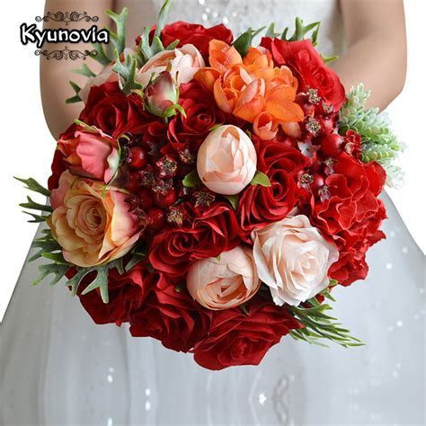 Kyunovia Wedding Flowers Bridal Bouquet Red Roses bouquet