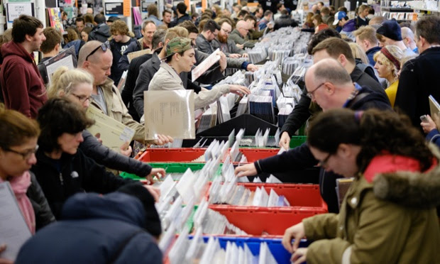 Music fans dig through the crates at Rough Trade East
