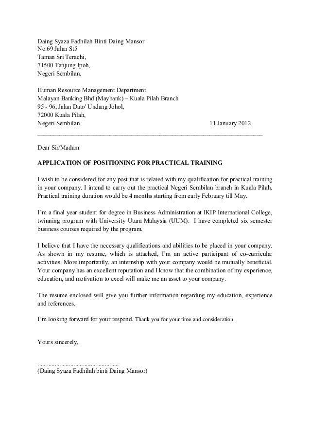 Letter Contoh Cover Letter Bahasa Melayu