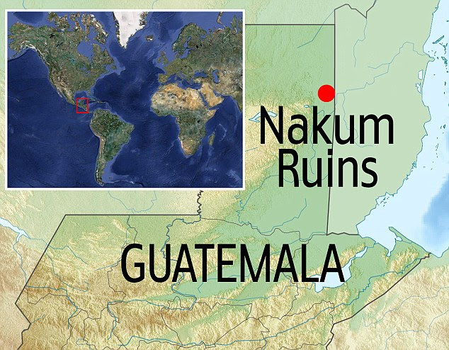 Locator map showing Nakum Ruins in Guatemala