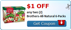 $5.00 off any two (2) Brothers-All-Natural 16 Pack Variety Boxes. Available exclusively at BJ's Wholesale Club