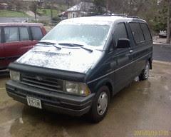 Iced up van