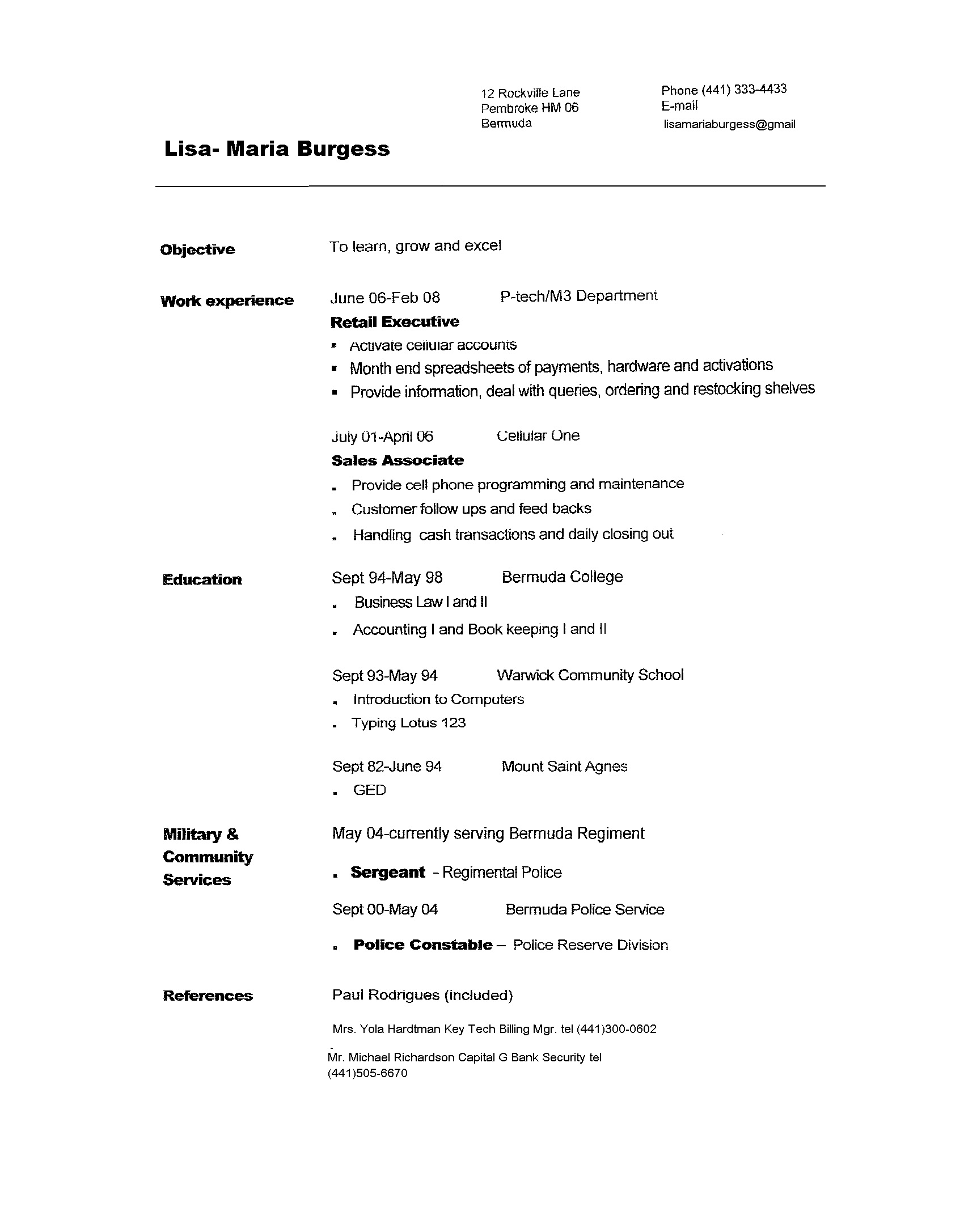 copy of copy of resume 2009