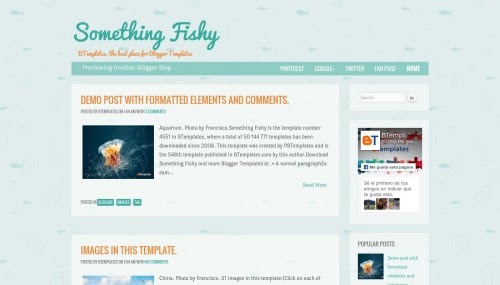 """Something Fishy"" Food Blog Templates Free + Responsive"
