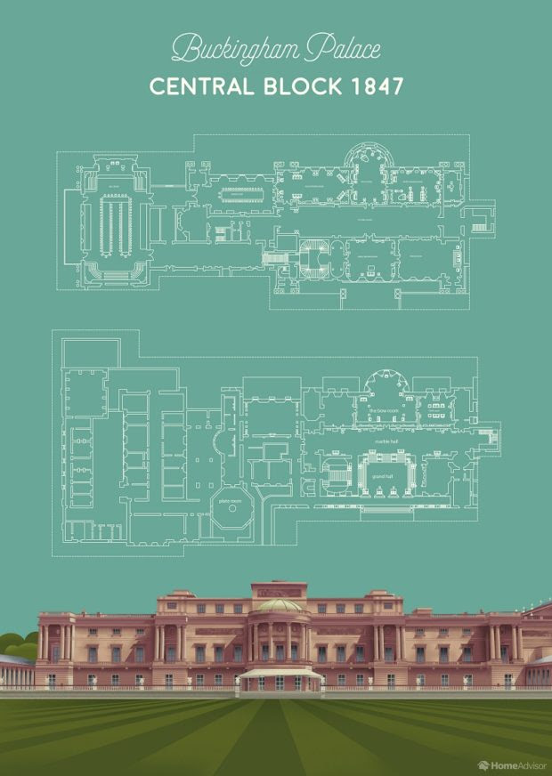 Buckingham Palace - Floor Plans of a Royal Home