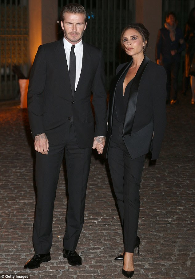 Stylish pair: Earlier in the evening, David and Victoria Beckham attended the the Global Fund and British Fashion Council party at Apsley House