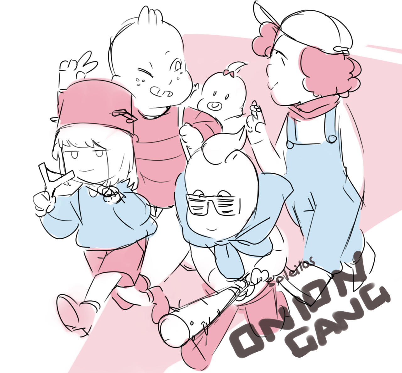 just a tiny thing for that new su episode! a gang of kids running amok– that gave me a bit of an earthbound vibe