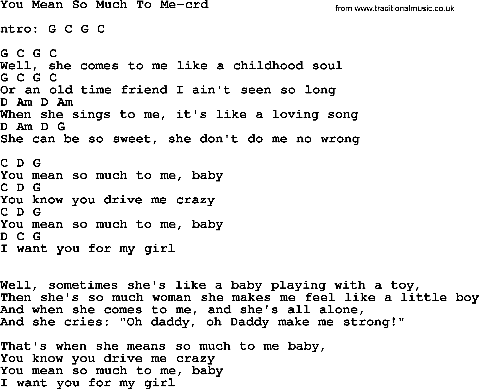 Bruce Springsteen Song You Mean So Much To Me Lyrics And Chords