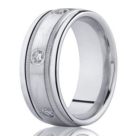 8mm Men?s White Gold Diamond Wedding Band in 14k with