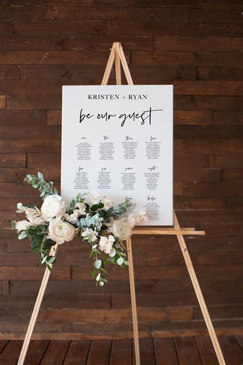 Printable Wedding Seating Chart, Modern Seating Plan