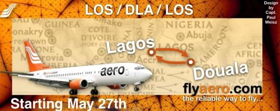 Aero's flyer for its Lagos - Douala route