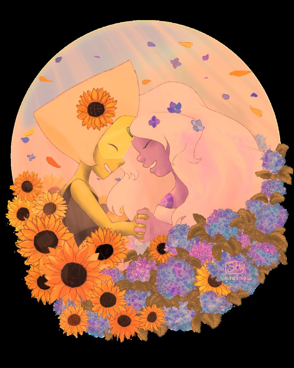 Sunflowers and Hydrangeas 💚💜